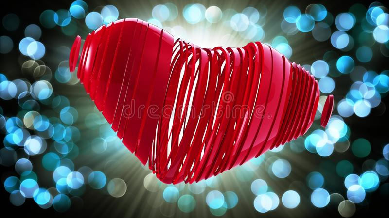 Red heart on a bokeh background royalty free illustration