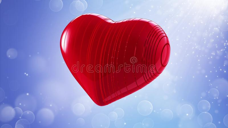 Red heart on a bokeh background vector illustration