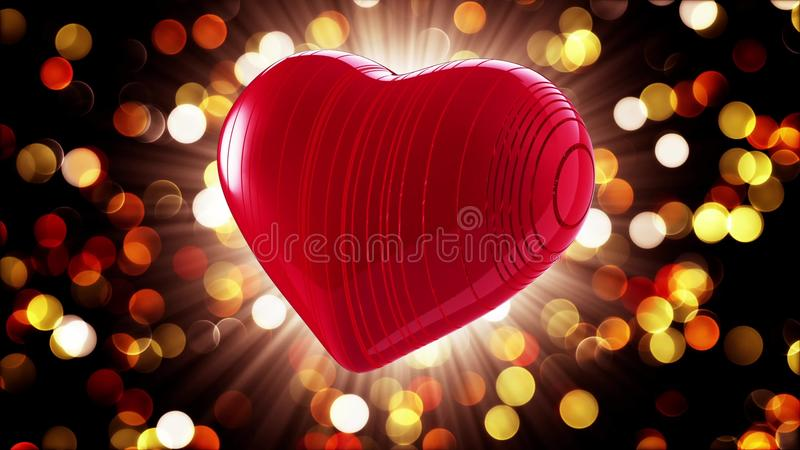 Red heart on a bokeh background stock illustration