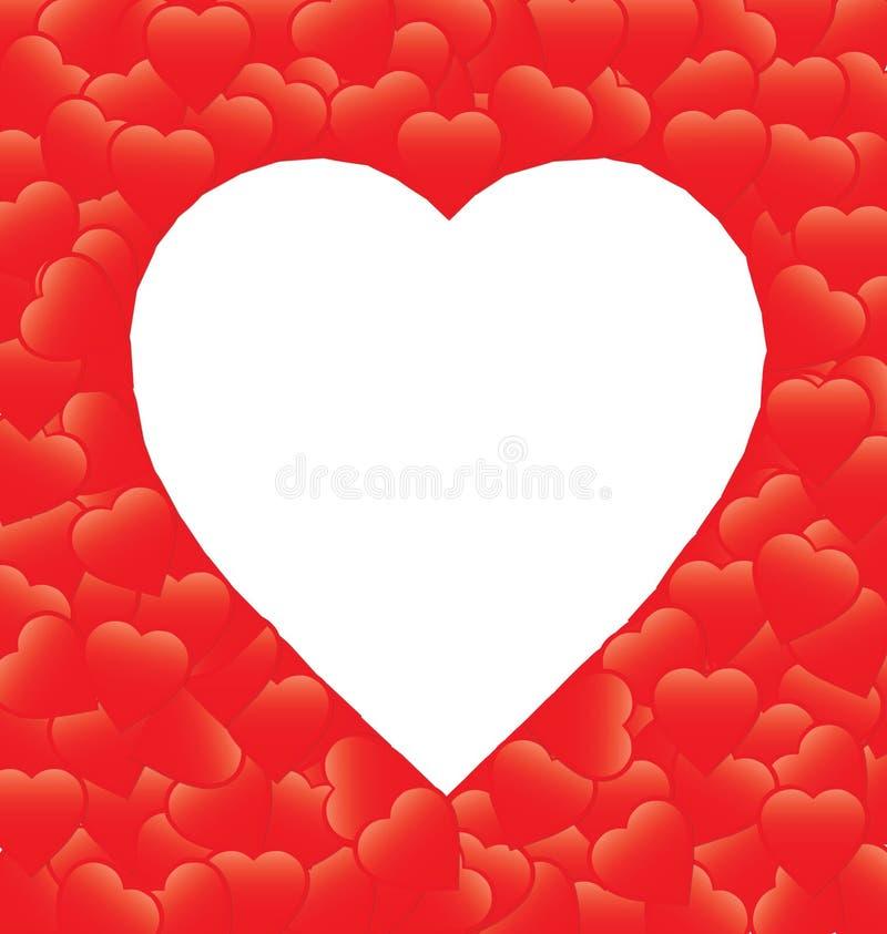 Red heart Border. Illustration of red heart border isolated on white stock illustration