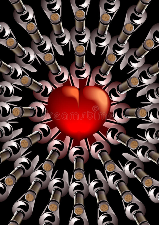 Red Heart With Bottles Of Wine Stock Image