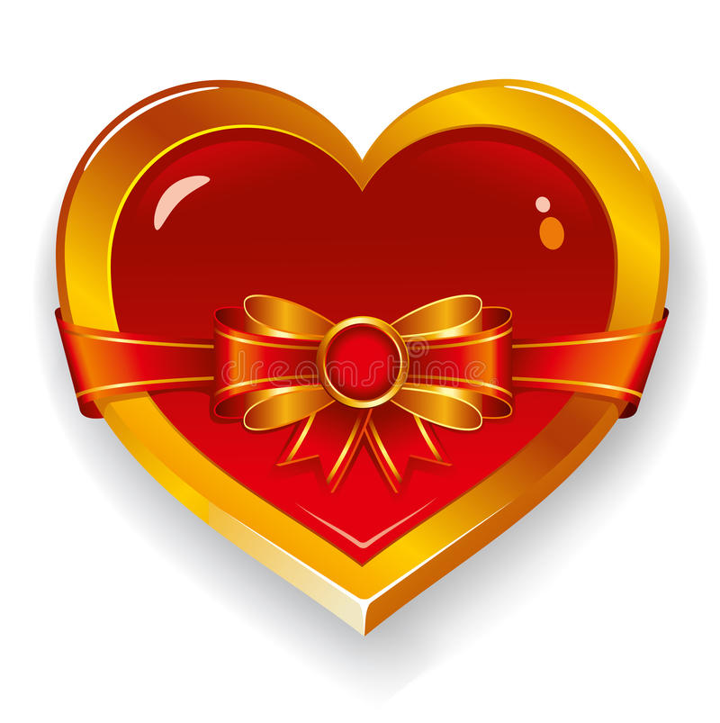Red heart with bow vector illustration