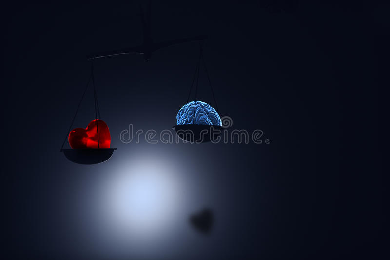 Red heart and brain on on scale stock illustration