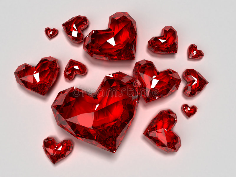 Red heart brilliants. 3d rendered illustration of some different red brilliant hearts vector illustration
