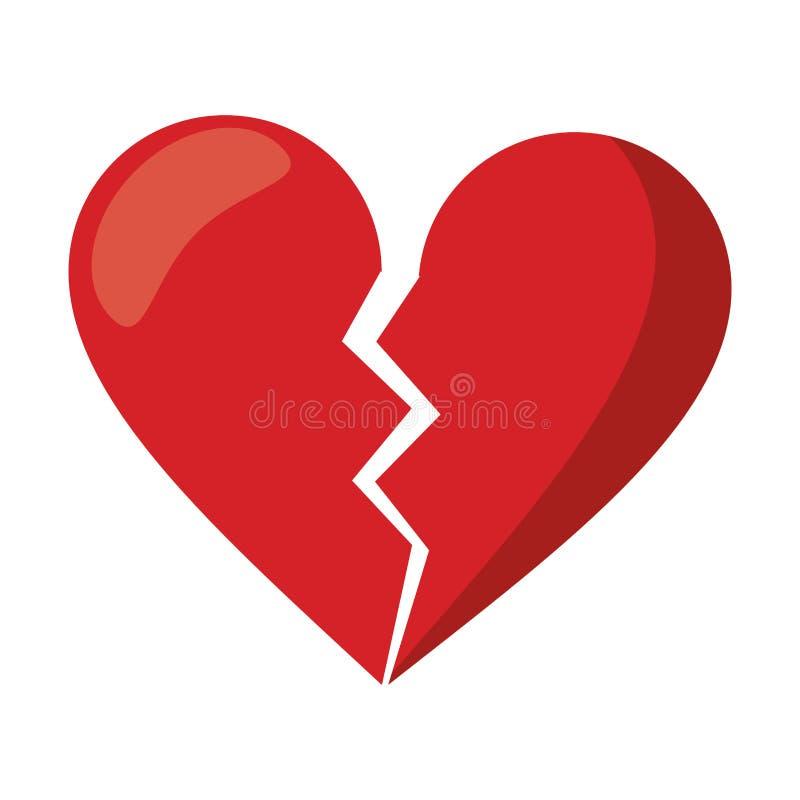 Red heart broken sad separation stock illustration