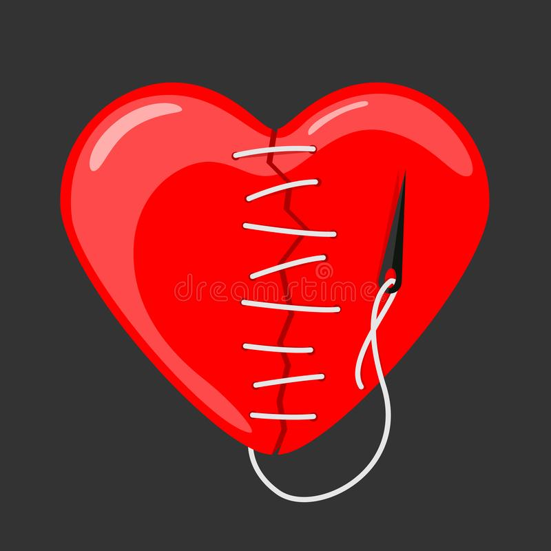 Red heart broken sewn with needle and thread vector design stock illustration