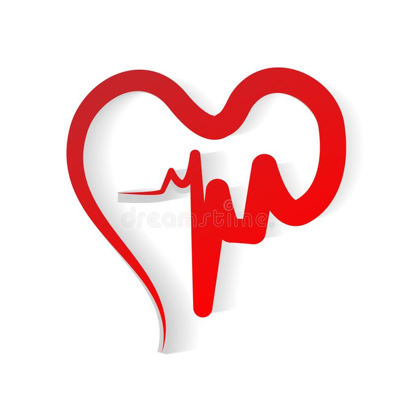 Red Heart Cardiogram of Love Vector stock illustration