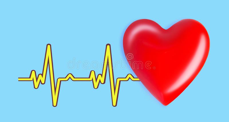 Red heart and cardioline on blue background. healthcare and medicine concept with red heart and ecg line. Red heart and cardioline on blue background vector illustration