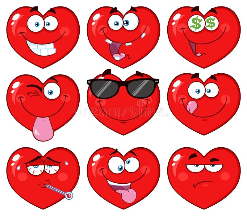 Red Heart Cartoon Emoji Face Character 2. Collection. Isolated On White Background stock illustration