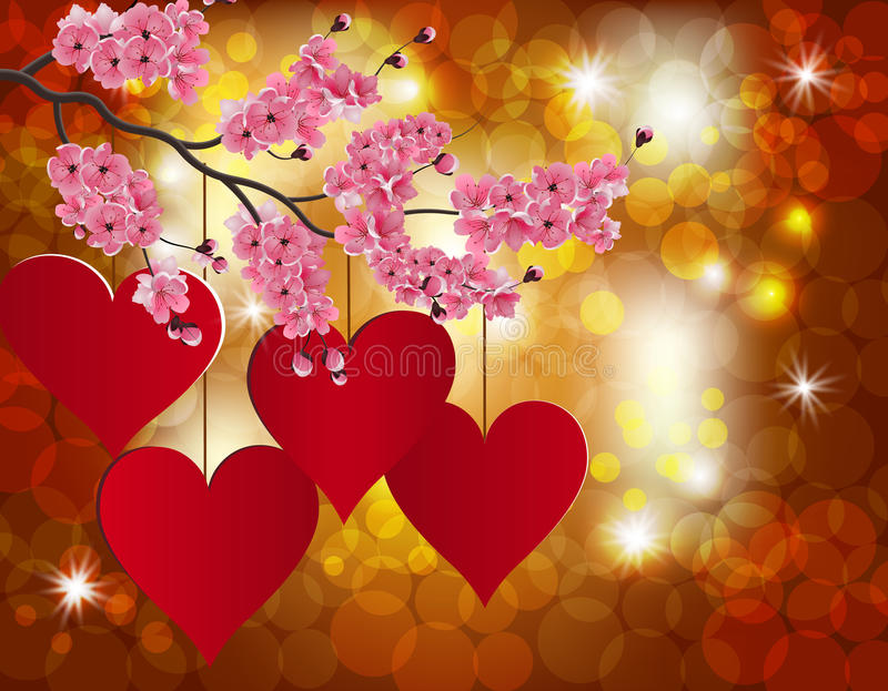 Red heart on a celebratory background. Flowering branch of cherry. Postcard in honor of Valentine s Day. Vector illustration vector illustration