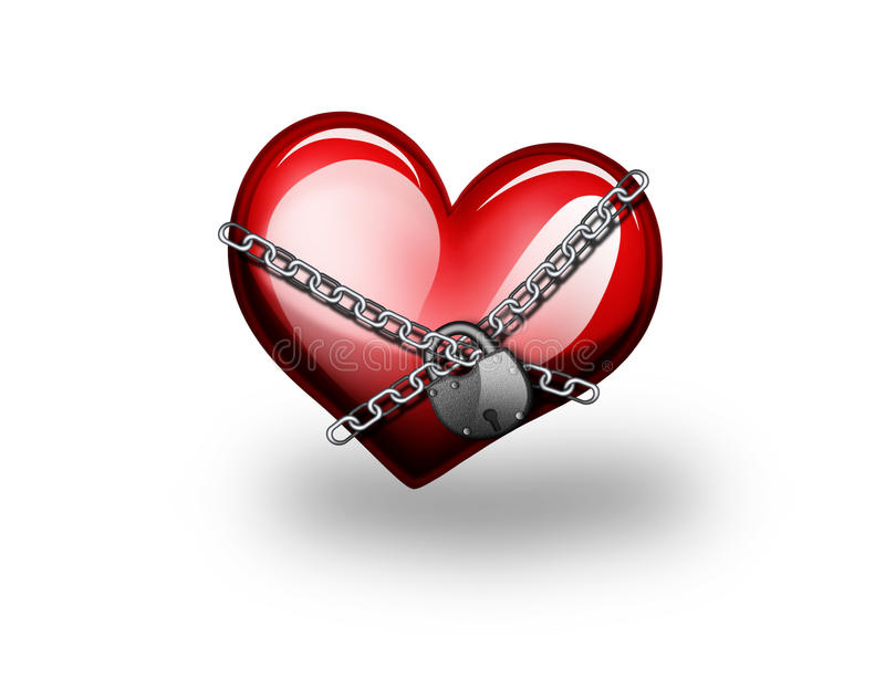 Download Red heart in chains stock illustration. Image of lock - 9523346