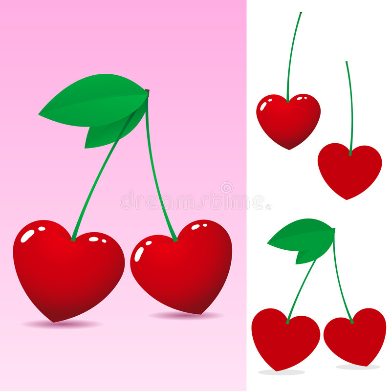 Red heart cherry. On pink background stock illustration