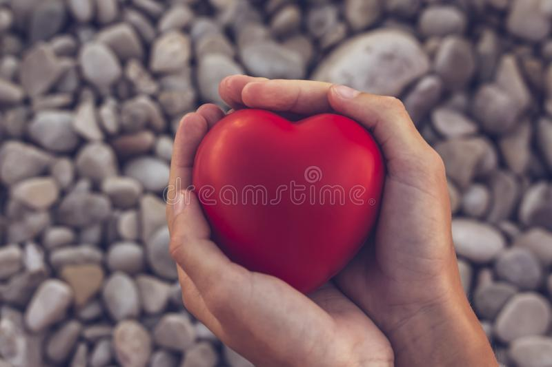 Red heart in children`s hands on stone beach background, concept of love. Symbol of love and family.Valentines day card. Mother` stock photo