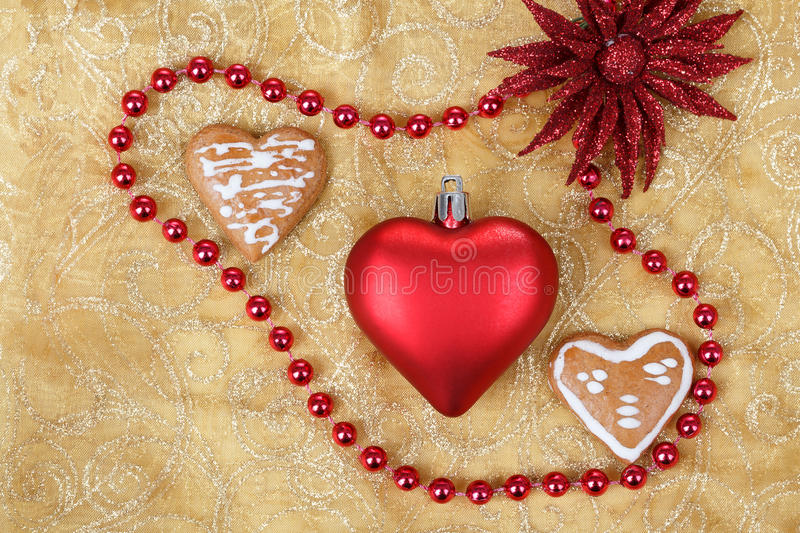 Red heart on christmas tablecloth