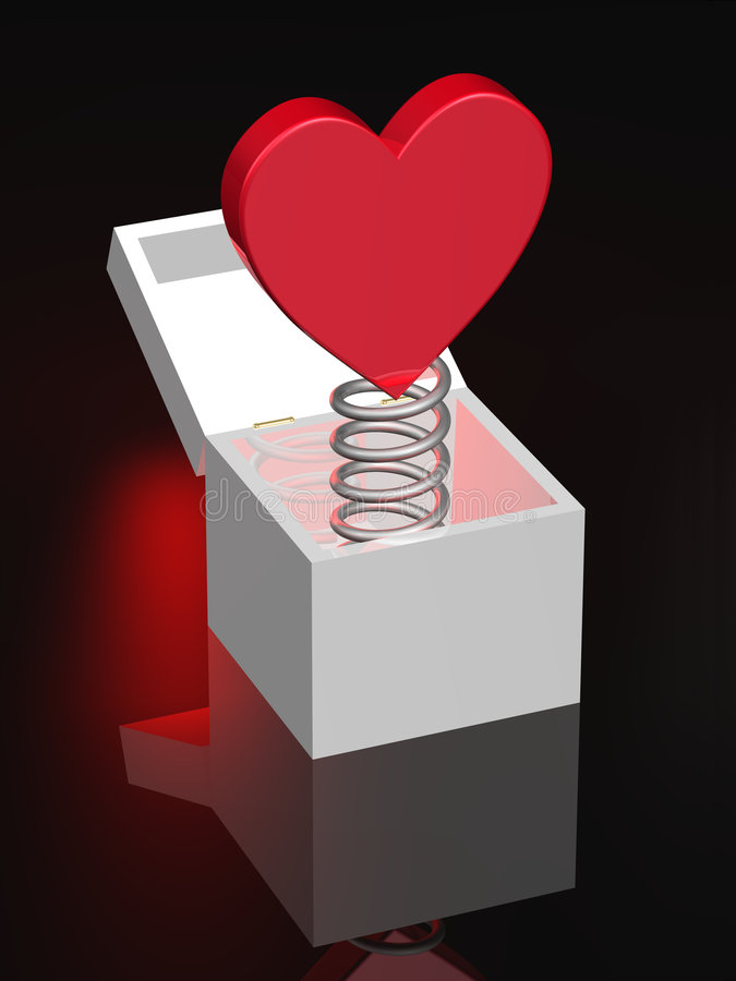 Red Heart on Coil Spring in Box vector illustration