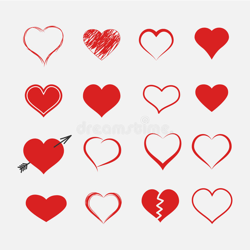 Download Red heart collection icon stock vector. Image of amour - 83713159
