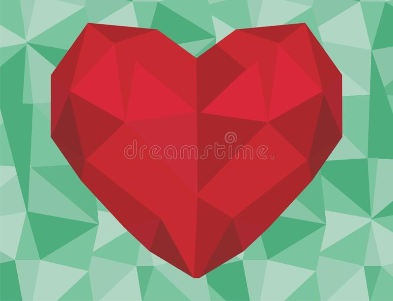 Red heart and colored bakcground. One red heart on the middle of green background stock illustration