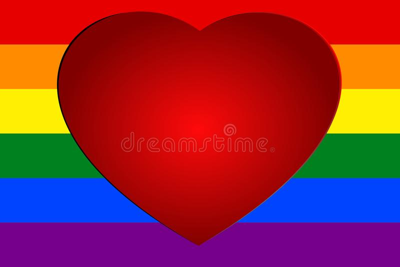 Red heart on colorful rainbow striped background, the symbolic colors of LGBT or GLBT pride flag stock illustration