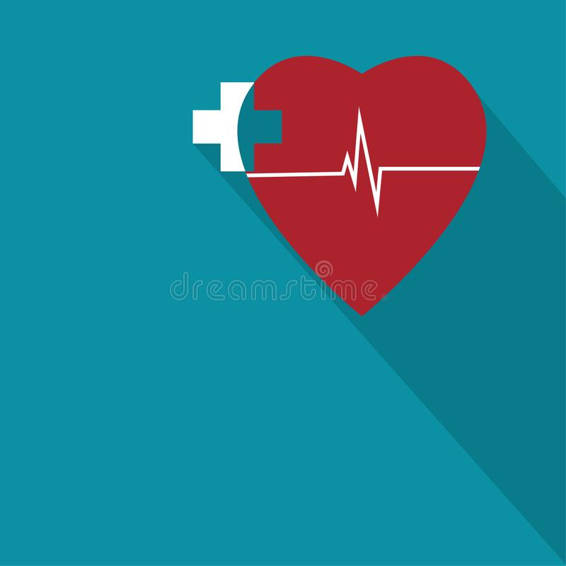 Red heart and cross plus medical pharmacy icon in trendy flat style. Vector illustration vector illustration