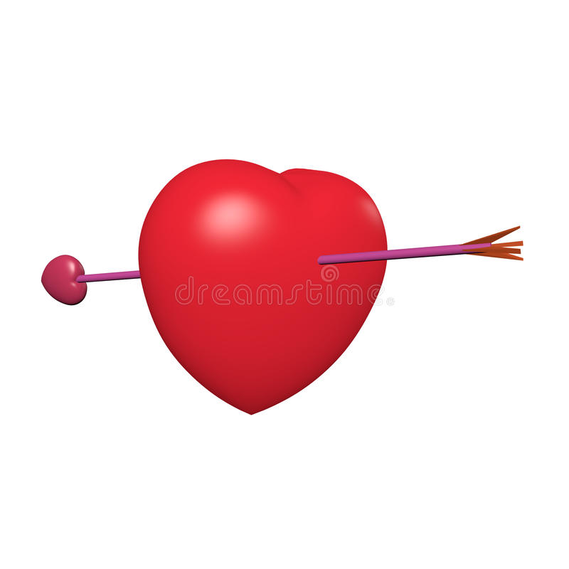 Red heart and cupid arrow. Show fall in love signal royalty free stock image