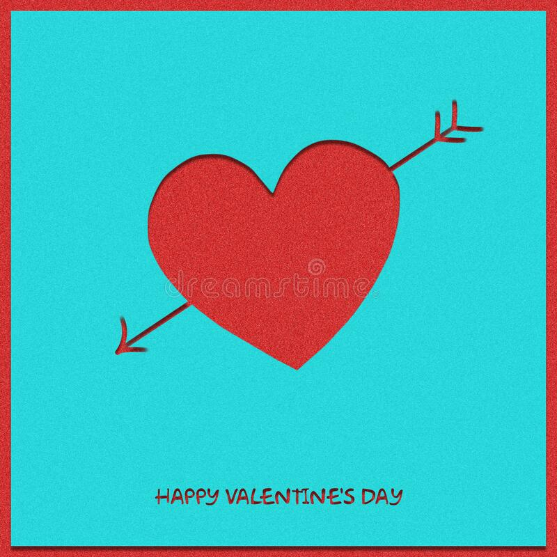 Red heart and cupid`s arrow on a pastel green background. Happy Valentine`s day background. stock photos