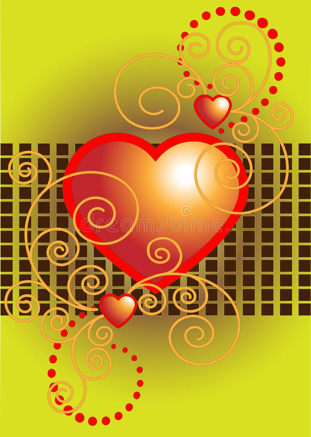 Download Red Heart Decorated With Curves.Postcard.Backgroun Royalty Free Stock Image - Image: 18145456