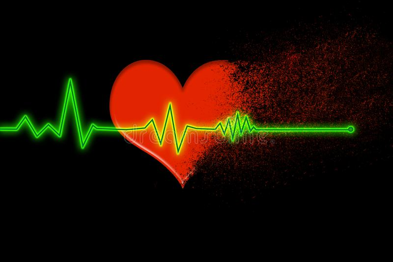 Red heart that disintegrates into dust with the heartbeat line that stops on a black background stock images