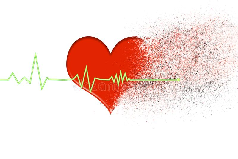 red heart that disintegrates into dust with the heartbeat line that stops on a white background royalty free stock photography
