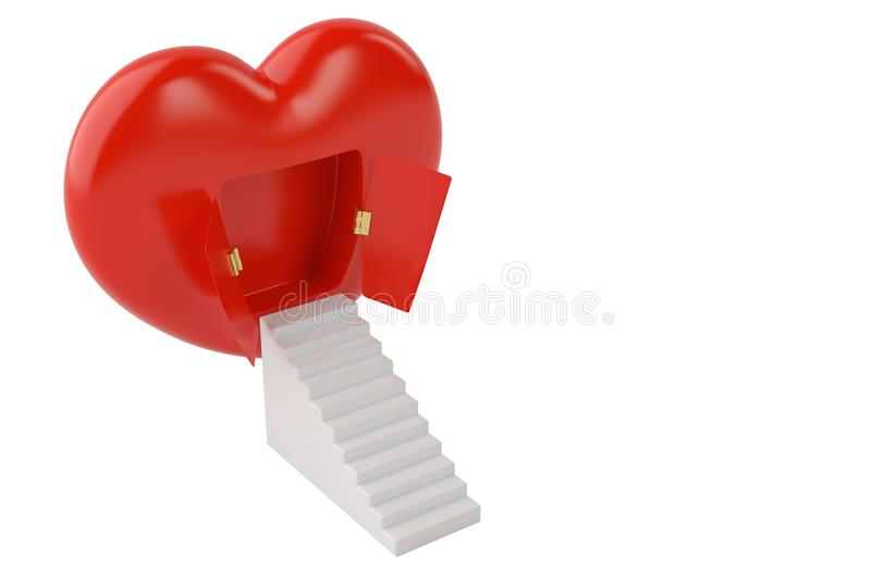 Red heart with doors open and stairs.3D illustration. stock illustration