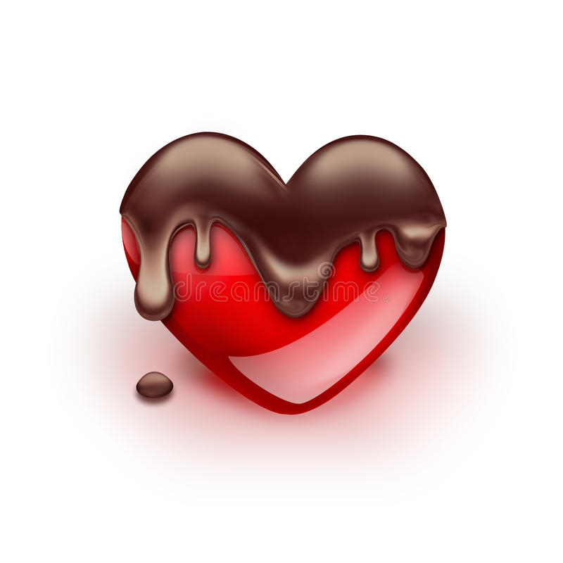 Red heart with dripping chocolate stock illustration
