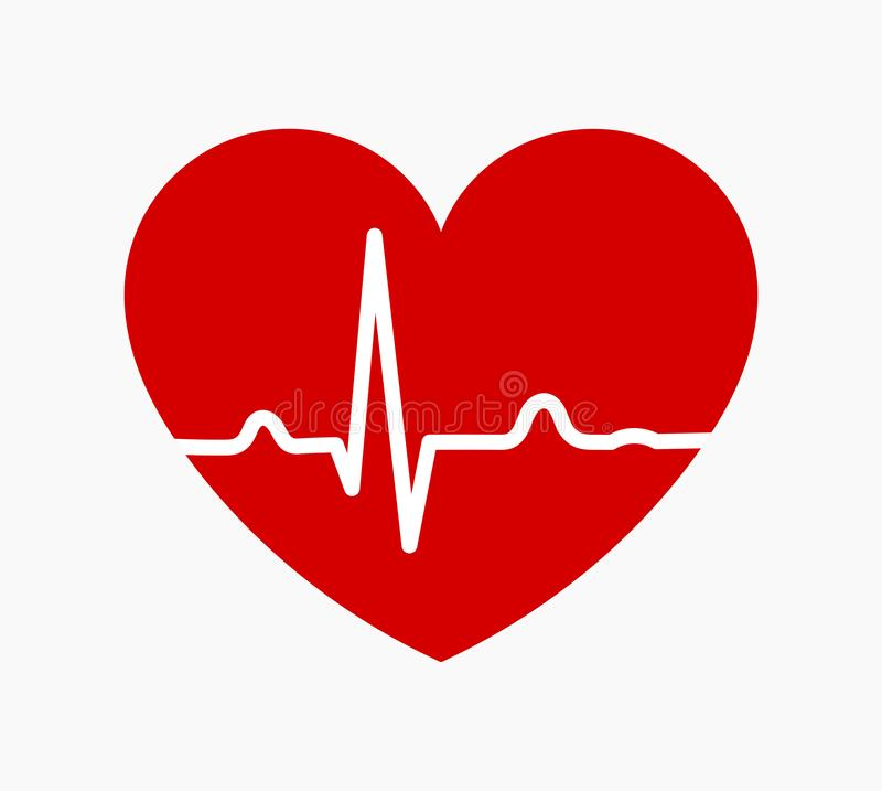 Red heart with ECG heartbeat rhythm line graph icon vector illustration