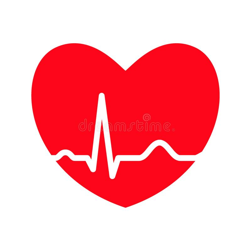 Red heart with ekg line. Electrocardiography. Medical design. Vector illustration stock illustration