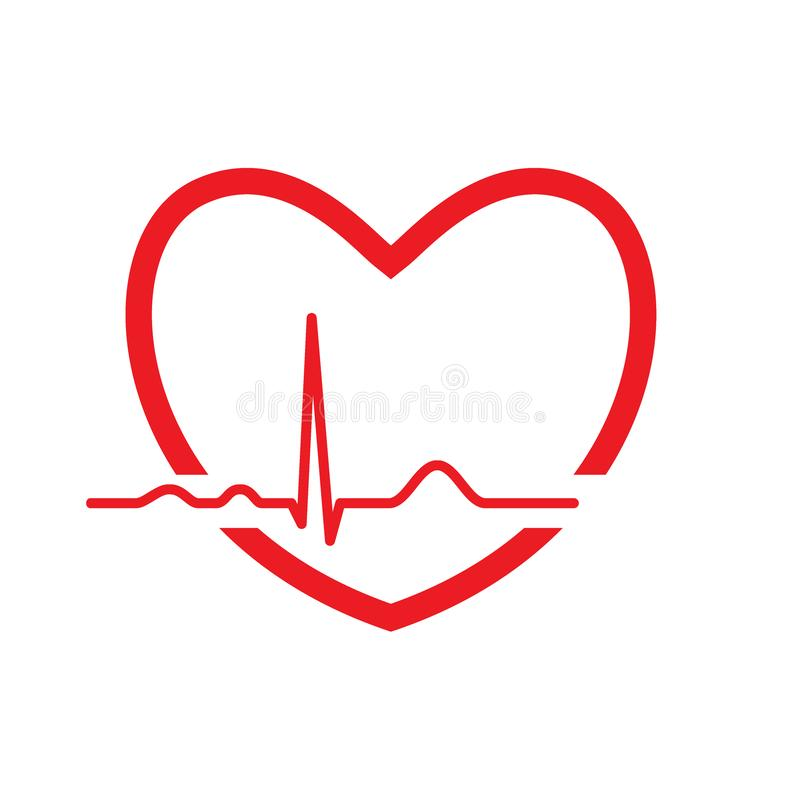 Red heart with ekg line. Electrocardiography. Medical design. Vector illustration royalty free illustration