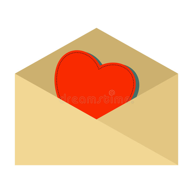 Red heart into envelope royalty free illustration