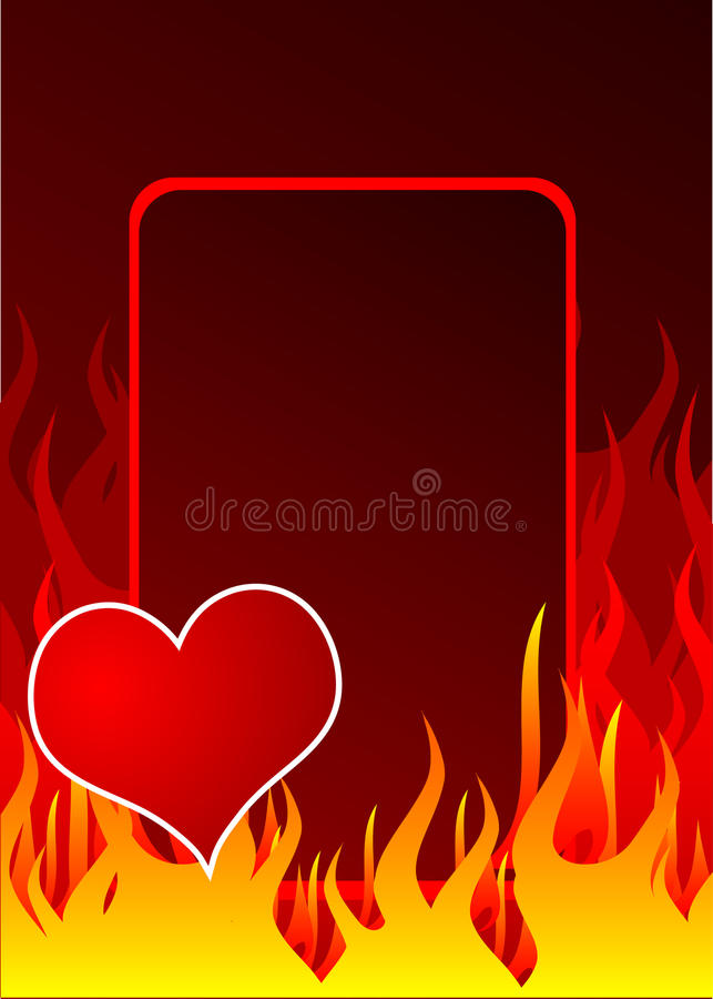 Red heart and fire royalty free illustration
