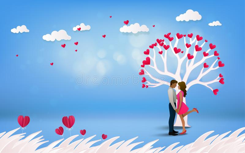 Red heart flower on pink background with couple kissing under l. Ove tree on vacation summer holidays romance. Happy Valentine& x27;s Day wallpaper, poster, card royalty free illustration
