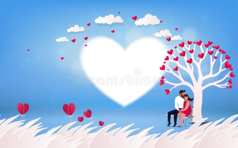 Red heart flower on pink background with couple kissing under l vector illustration