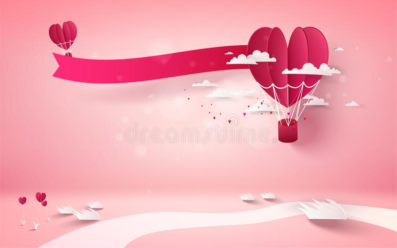 Red heart flower on pink background with red heart balloon flyin vector illustration