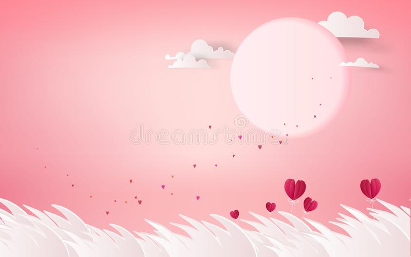 Red heart flower on pink background. summer holidays romance. Lo royalty free illustration
