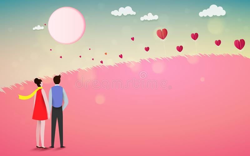 Red heart flower on pink background with sweet couple on honeym vector illustration