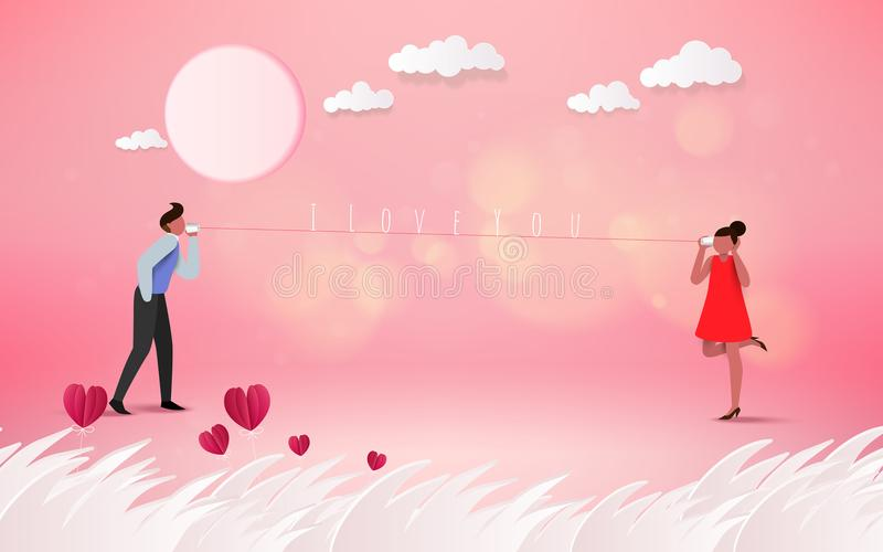 Red heart flower on pink background with sweet couple on honeym stock illustration