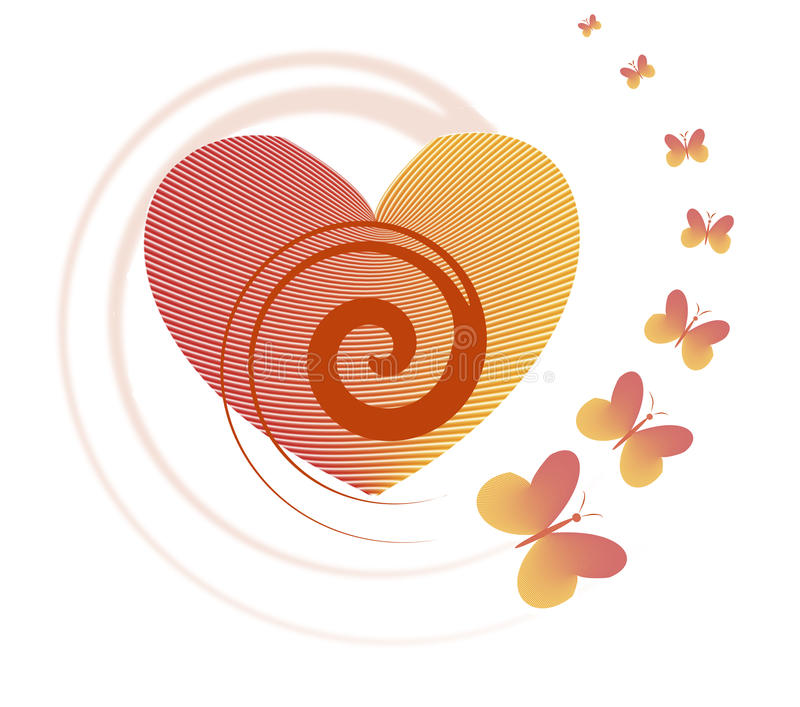 Download Red Heart And Flying Butterfly - Symbol Of Love. Stock Illustration - Image: 83708306