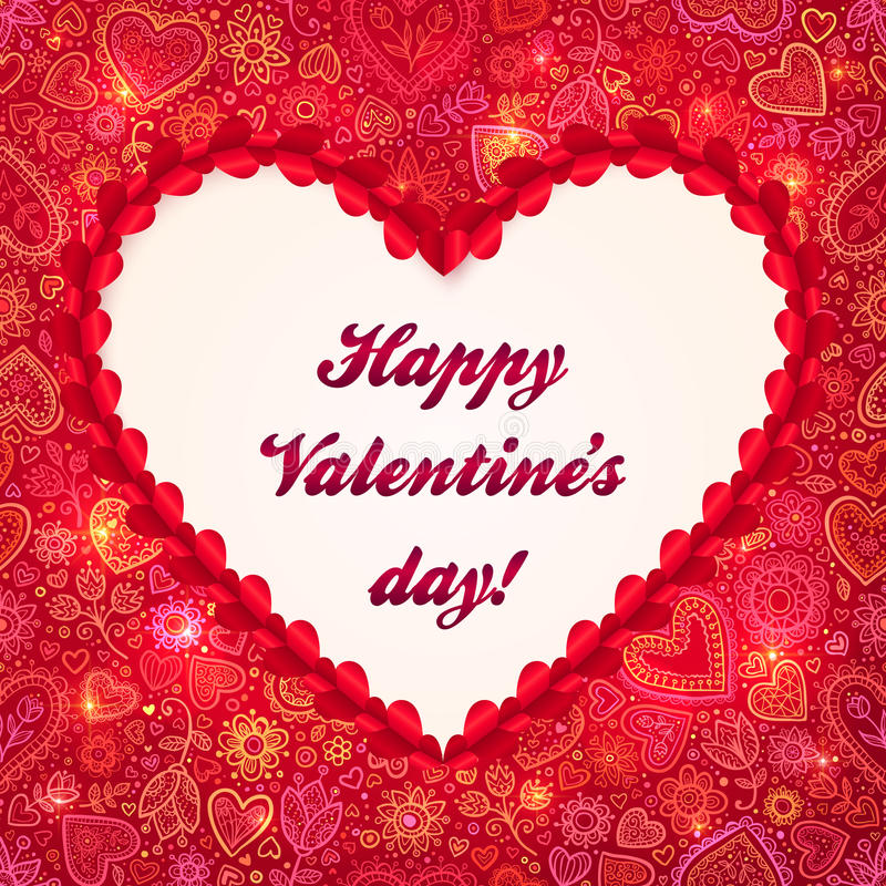 Download Red Heart Frame Valentines Day Greeting Card Stock Illustration - Image: 28225986