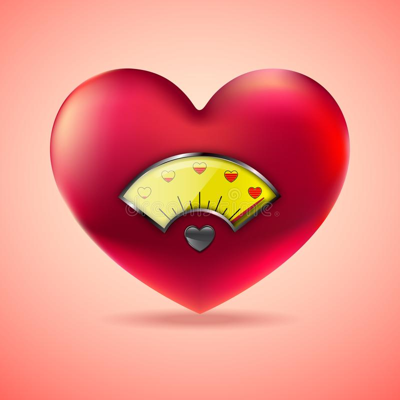 Red heart with fuel gauge, Love heart indicator, Measuring love icon. vector illustration