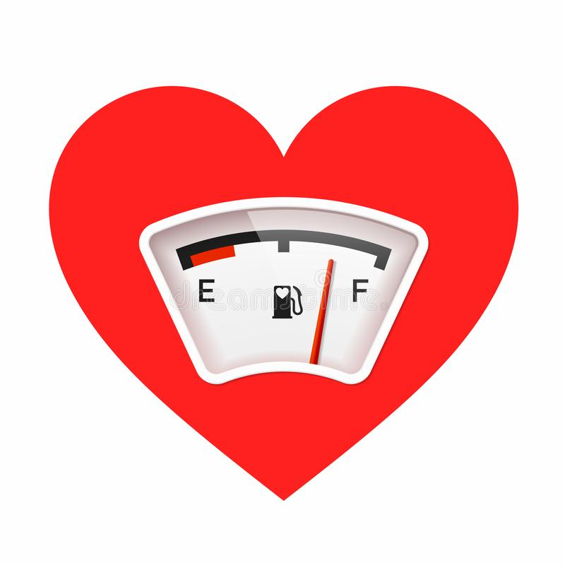 Red heart with fuel gauge, love meter stock illustration