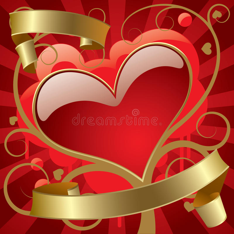 Red heart with gold banners royalty free illustration
