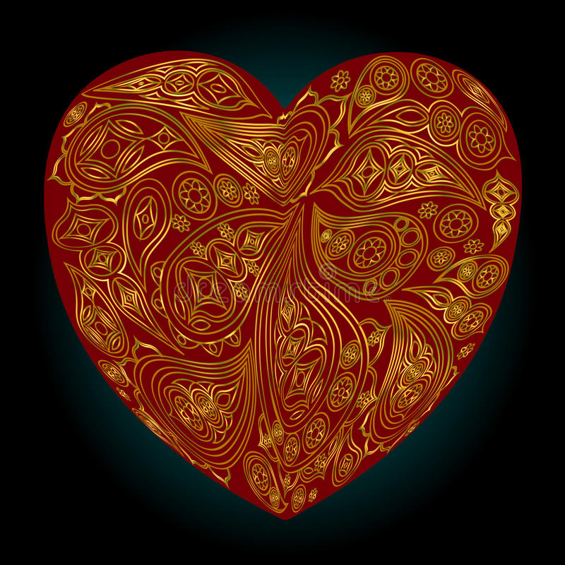 Red heart with gold Indian patterns on a black background royalty free illustration