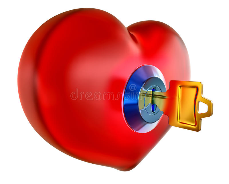 Red heart with golden key. Inside as symbol opening heart for love vector illustration