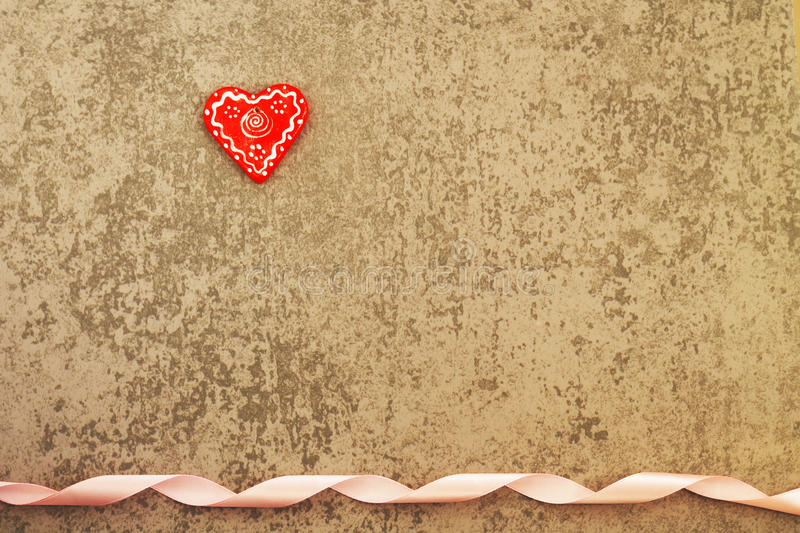 Download Red Heart On A Gray Background With Ribbon Stock Photo - Image: 83712366