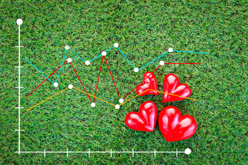 Red heart on green field with beat graph analysis stock photography